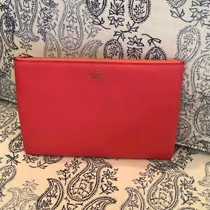 Kate Spade Large Zip Pouch Jackson Light Red NWT